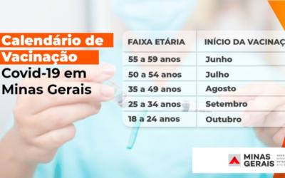 Calendário da vacinação contra covid-19 em MG prevê 1ª dose até outubro para todos os mineiros acima de 18 anos